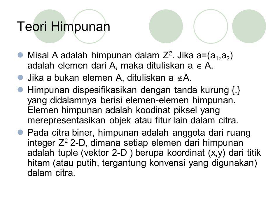 Teori Himpunan Misal A adalah himpunan dalam Z 2.