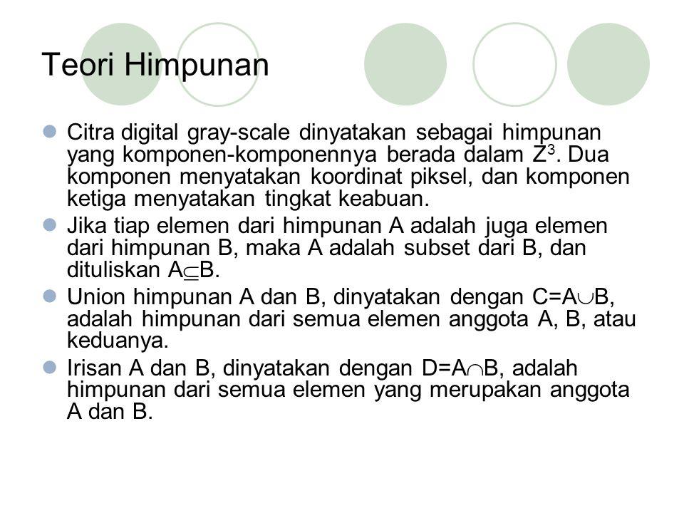 Teori Himpunan Citra digital gray-scale dinyatakan sebagai himpunan yang komponen-komponennya berada dalam Z 3.