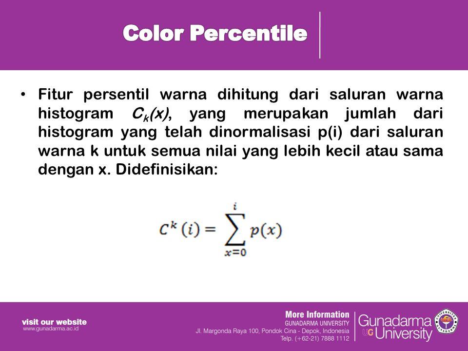 Fitur persentil warna dihitung dari saluran warna histogram C k (x), yang merupakan jumlah dari histogram yang telah dinormalisasi p(i) dari saluran warna k untuk semua nilai yang lebih kecil atau sama dengan x.