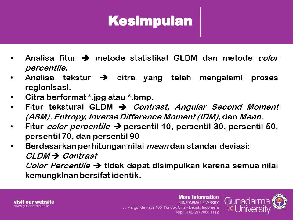 Analisa fitur  metode statistikal GLDM dan metode color percentile.