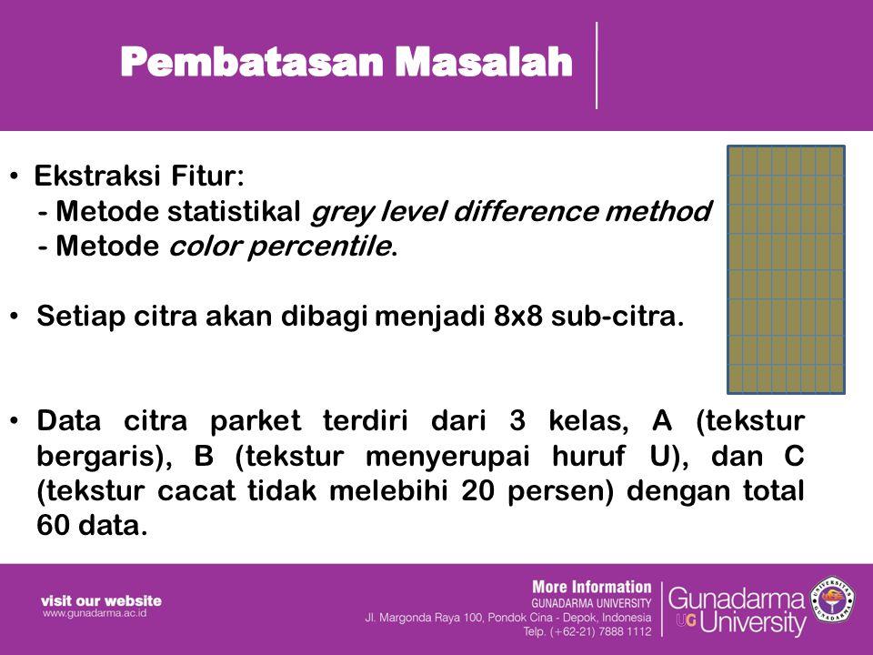 Ekstraksi Fitur: - Metode statistikal grey level difference method - Metode color percentile.