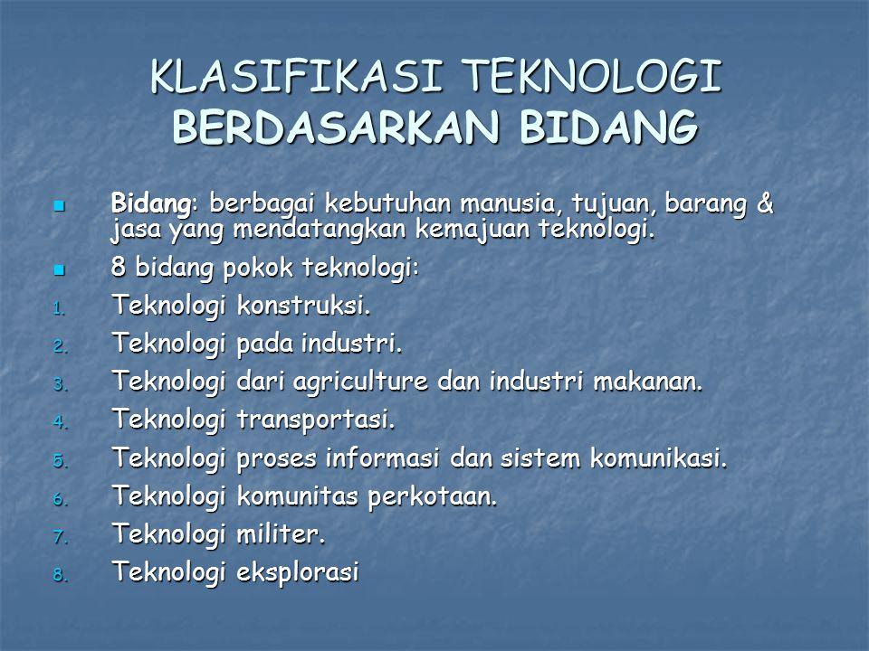 KLASIFIKASI TEKNOLOGI BERDASARKAN BIDANG Bidang: berbagai kebutuhan manusia, tujuan, barang & jasa yang mendatangkan kemajuan teknologi.
