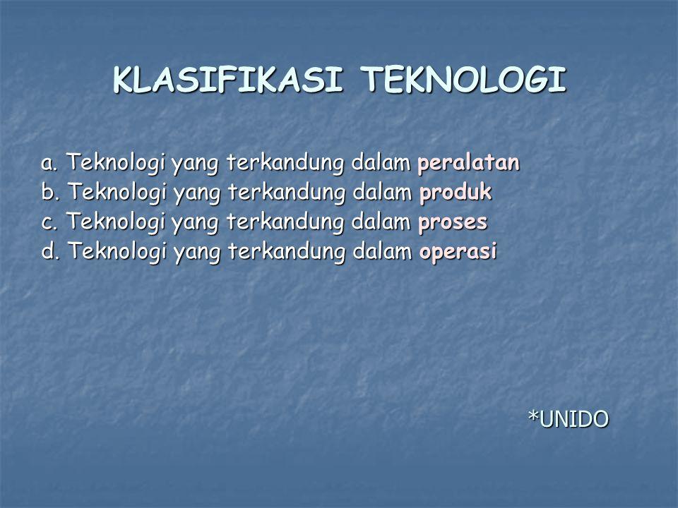 KLASIFIKASI TEKNOLOGI a.Teknologi yang terkandung dalam peralatan b.