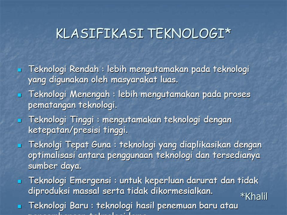 KLASIFIKASI TEKNOLOGI* Teknologi Rendah : lebih mengutamakan pada teknologi yang digunakan oleh masyarakat luas.