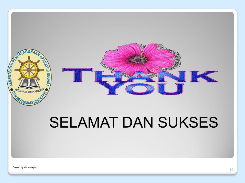 Created by aba subagja 12 SELAMAT DAN SUKSES