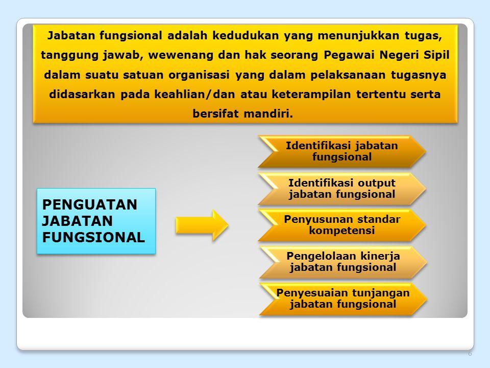 Identifikasi jabatan fungsional Penyusunan standar kompetensi Identifikasi output jabatan fungsional Pengelolaan kinerja jabatan fungsional Penyesuaia