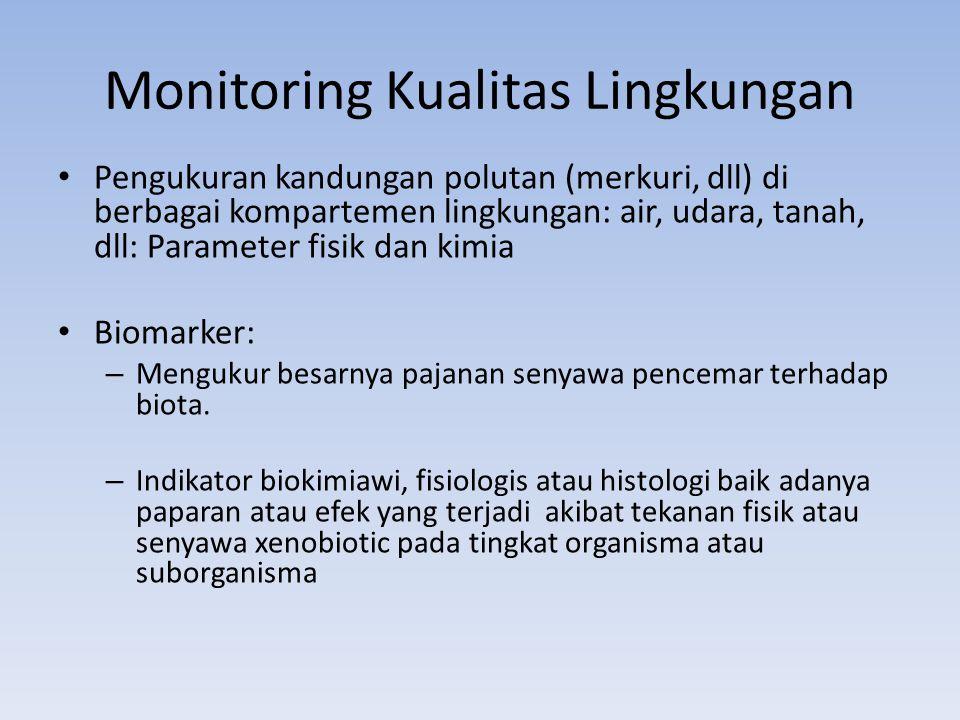 Monitoring Kualitas Lingkungan Pengukuran kandungan polutan (merkuri, dll) di berbagai kompartemen lingkungan: air, udara, tanah, dll: Parameter fisik dan kimia Biomarker: – Mengukur besarnya pajanan senyawa pencemar terhadap biota.