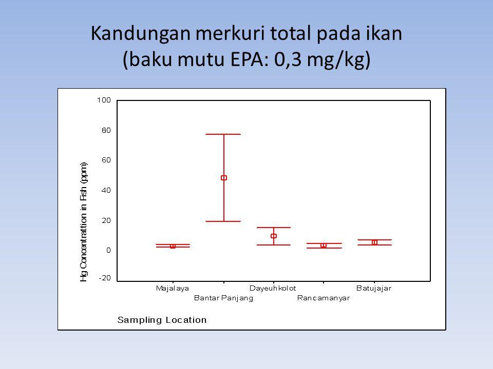 Kandungan merkuri total pada ikan (baku mutu EPA: 0,3 mg/kg)