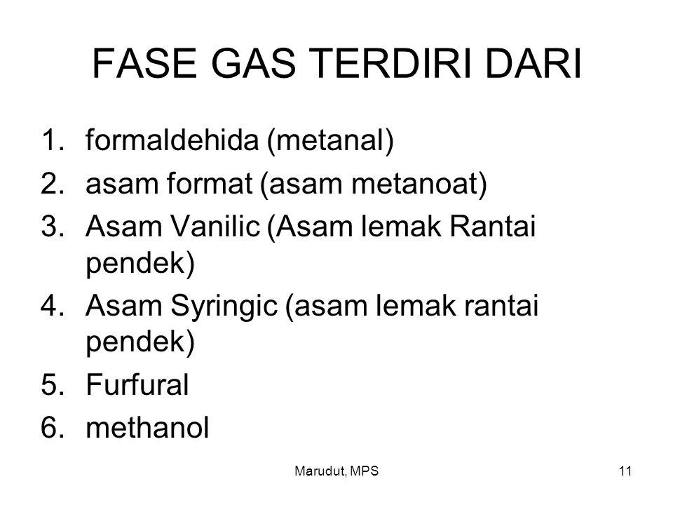 Marudut, MPS11 FASE GAS TERDIRI DARI 1.formaldehida (metanal) 2.asam format (asam metanoat) 3.Asam Vanilic (Asam lemak Rantai pendek) 4.Asam Syringic (asam lemak rantai pendek) 5.Furfural 6.methanol