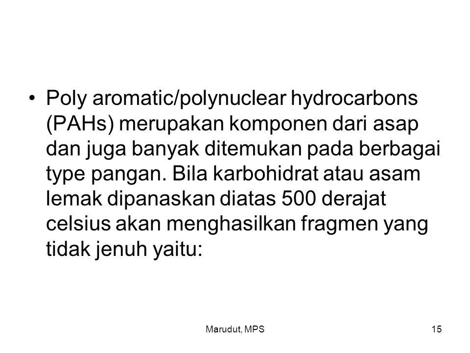 Marudut, MPS15 Poly aromatic/polynuclear hydrocarbons (PAHs) merupakan komponen dari asap dan juga banyak ditemukan pada berbagai type pangan.