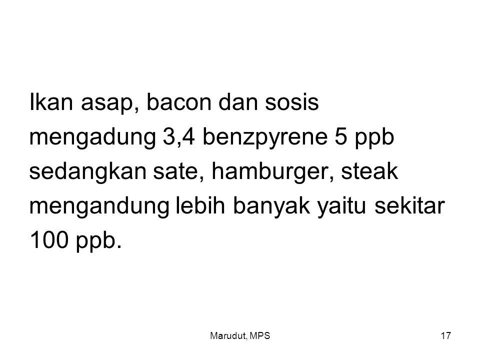 Marudut, MPS17 Ikan asap, bacon dan sosis mengadung 3,4 benzpyrene 5 ppb sedangkan sate, hamburger, steak mengandung lebih banyak yaitu sekitar 100 ppb.