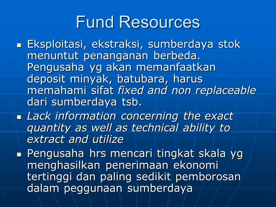 Fund Resources Eksploitasi, ekstraksi, sumberdaya stok menuntut penanganan berbeda. Pengusaha yg akan memanfaatkan deposit minyak, batubara, harus mem