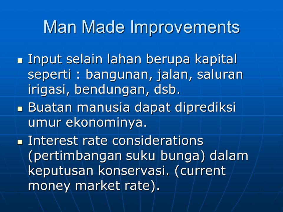 Man Made Improvements Input selain lahan berupa kapital seperti : bangunan, jalan, saluran irigasi, bendungan, dsb. Input selain lahan berupa kapital