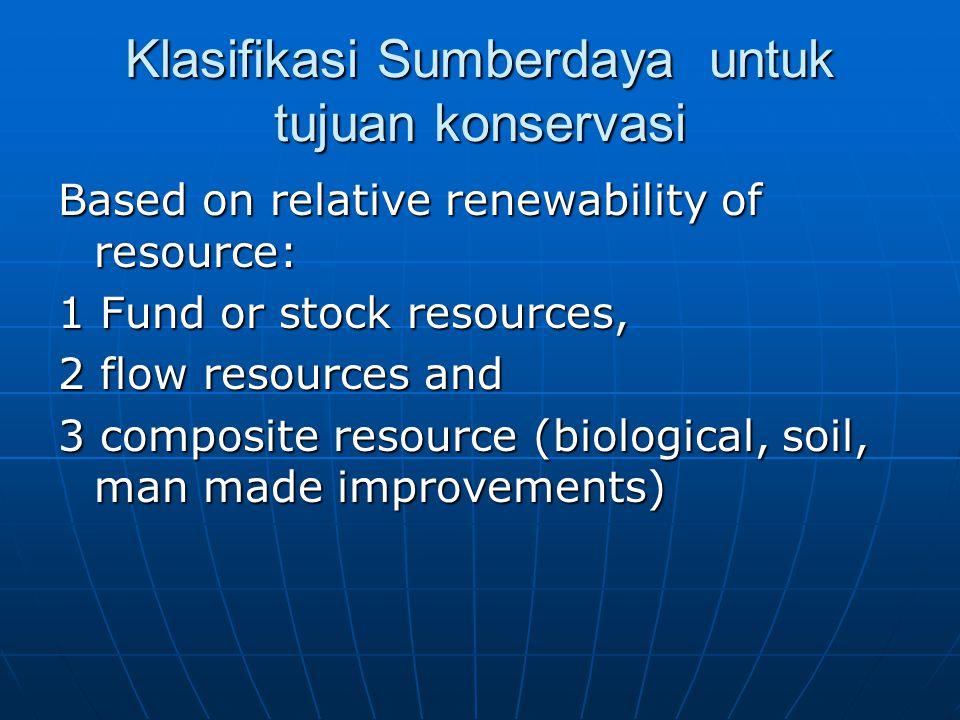 Klasifikasi Sumberdaya untuk tujuan konservasi Based on relative renewability of resource: 1 Fund or stock resources, 2 flow resources and 3 composite