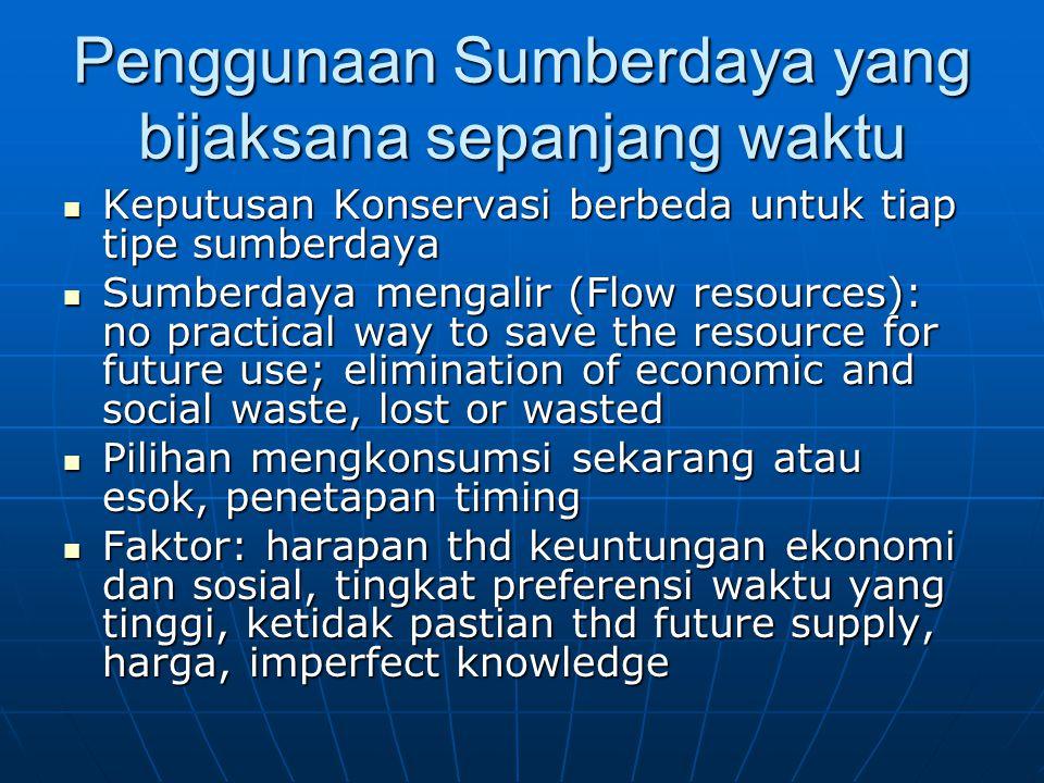 Penggunaan Sumberdaya yang bijaksana sepanjang waktu Keputusan Konservasi berbeda untuk tiap tipe sumberdaya Keputusan Konservasi berbeda untuk tiap t