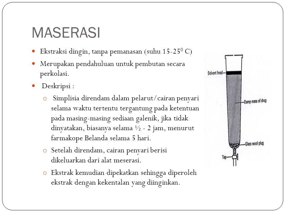 MASERASI Ekstraksi dingin, tanpa pemanasan (suhu 15-25 0 C) Merupakan pendahuluan untuk pembutan secara perkolasi. Deskripsi : o Simplisia direndam da