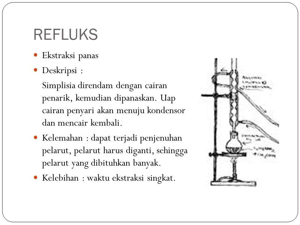 REFLUKS Ekstraksi panas Deskripsi : Simplisia direndam dengan cairan penarik, kemudian dipanaskan. Uap cairan penyari akan menuju kondensor dan mencai