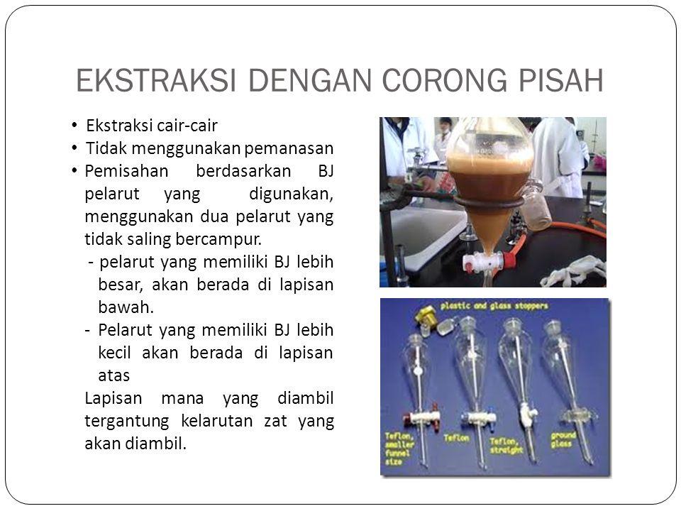 EKSTRAKSI DENGAN CORONG PISAH Ekstraksi cair-cair Tidak menggunakan pemanasan Pemisahan berdasarkan BJ pelarut yang digunakan, menggunakan dua pelarut