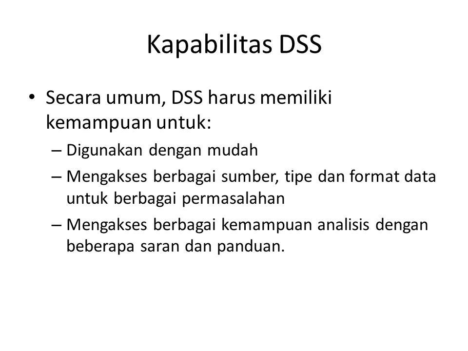 Kapabilitas DSS Secara umum, DSS harus memiliki kemampuan untuk: – Digunakan dengan mudah – Mengakses berbagai sumber, tipe dan format data untuk berb