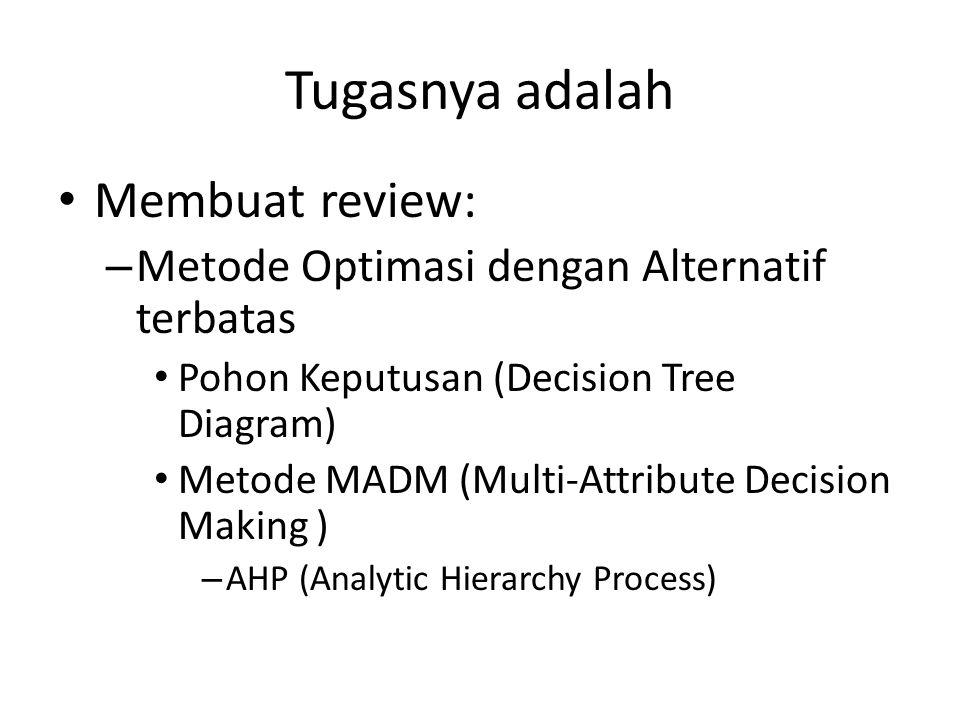 Tugasnya adalah Membuat review: – Metode Optimasi dengan Alternatif terbatas Pohon Keputusan (Decision Tree Diagram) Metode MADM (Multi-Attribute Deci