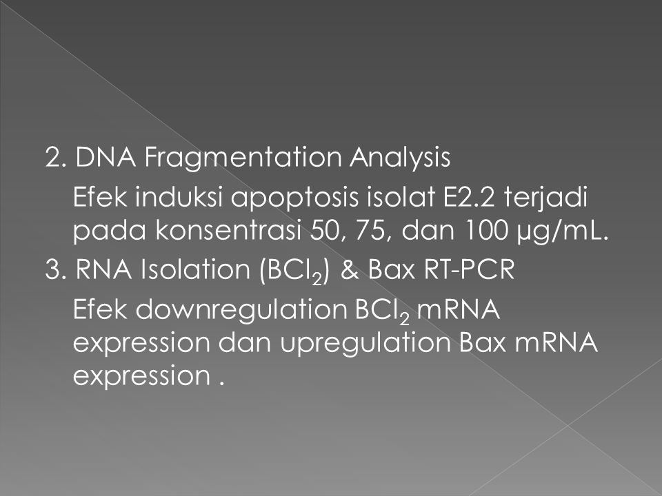 2. DNA Fragmentation Analysis Efek induksi apoptosis isolat E2.2 terjadi pada konsentrasi 50, 75, dan 100 µg/mL. 3. RNA Isolation (BCl 2 ) & Bax RT-PC