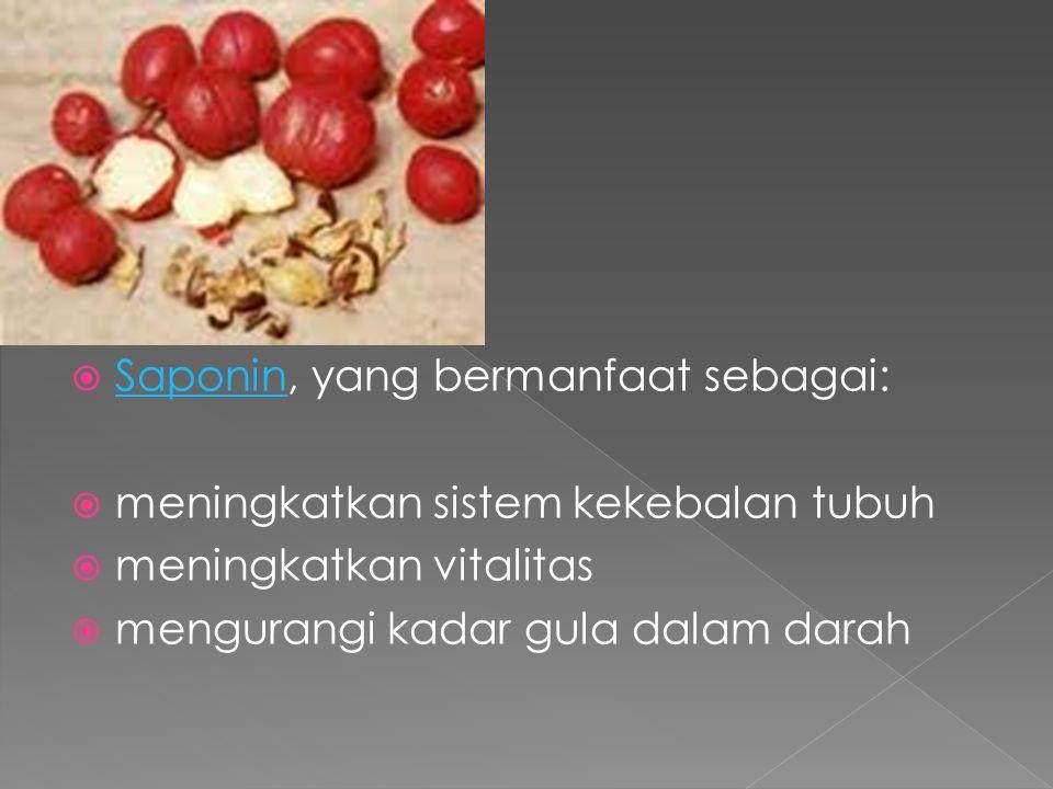  Flavonoid : Flavonoid  melancarkan peredaran darah ke seluruh tubuh dan mencegah terjadinya penyumbatan pada pembuluh darah  sebagai antiinflamasi dan anti-oksidan  membantu mengurangi rasa sakit (analgetik)