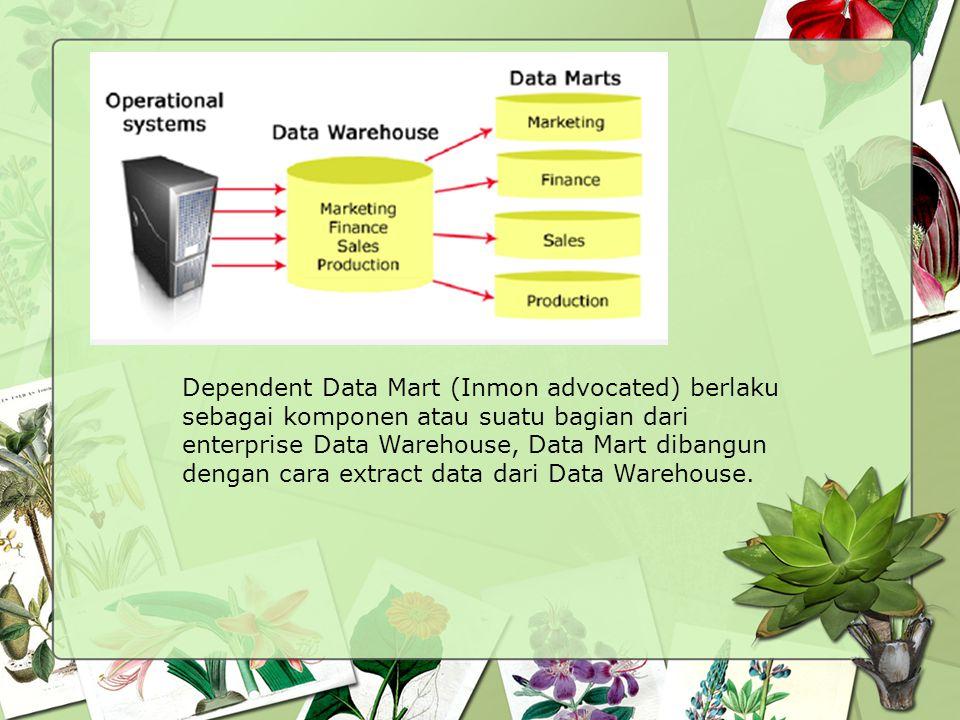 Dependent Data Mart (Inmon advocated) berlaku sebagai komponen atau suatu bagian dari enterprise Data Warehouse, Data Mart dibangun dengan cara extrac
