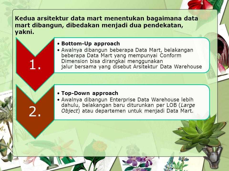 Kedua arsitektur data mart menentukan bagaimana data mart dibangun, dibedakan menjadi dua pendekatan, yakni. 1. Bottom-Up approach Awalnya dibangun be