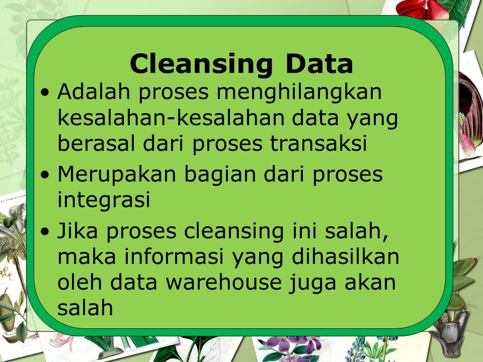 Cleansing Data Adalah proses menghilangkan kesalahan-kesalahan data yang berasal dari proses transaksi Merupakan bagian dari proses integrasi Jika pro