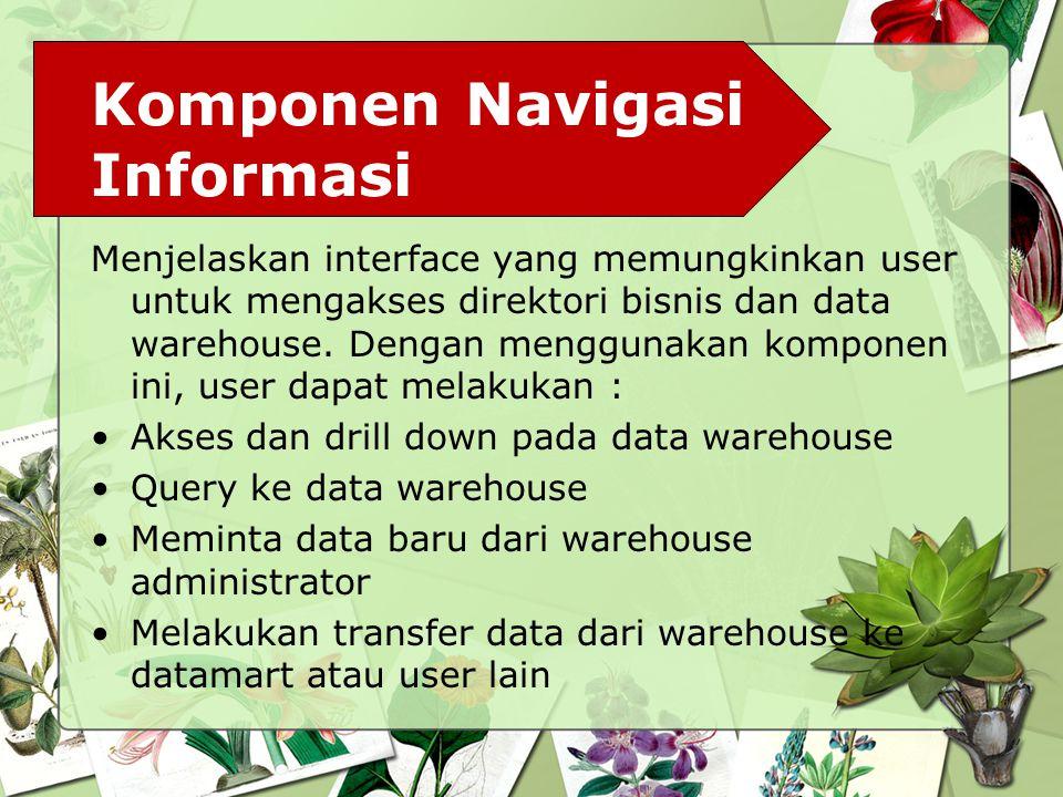 Komponen Navigasi Informasi Menjelaskan interface yang memungkinkan user untuk mengakses direktori bisnis dan data warehouse. Dengan menggunakan kompo