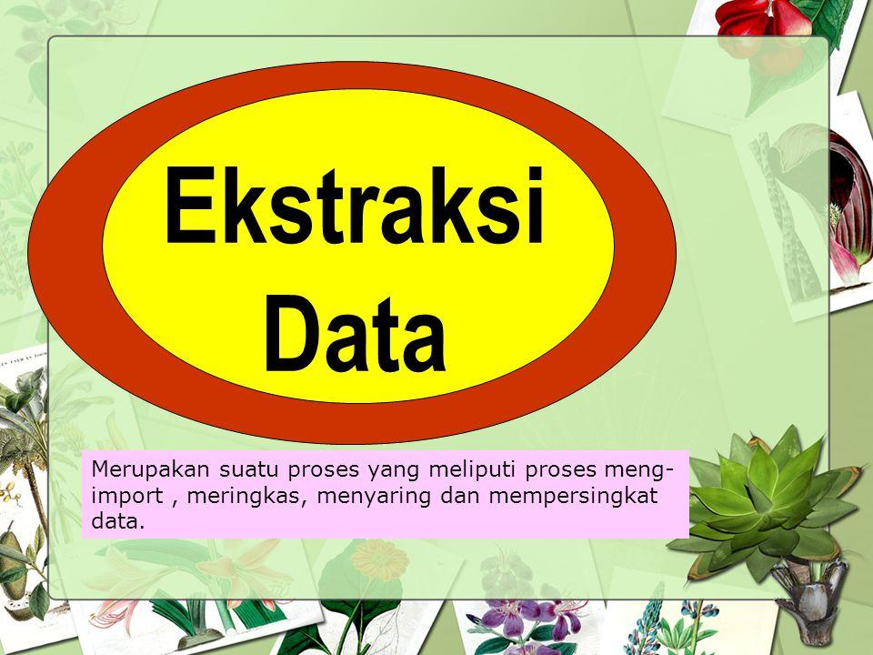 Ekstraksi Data Merupakan suatu proses yang meliputi proses meng- import, meringkas, menyaring dan mempersingkat data.