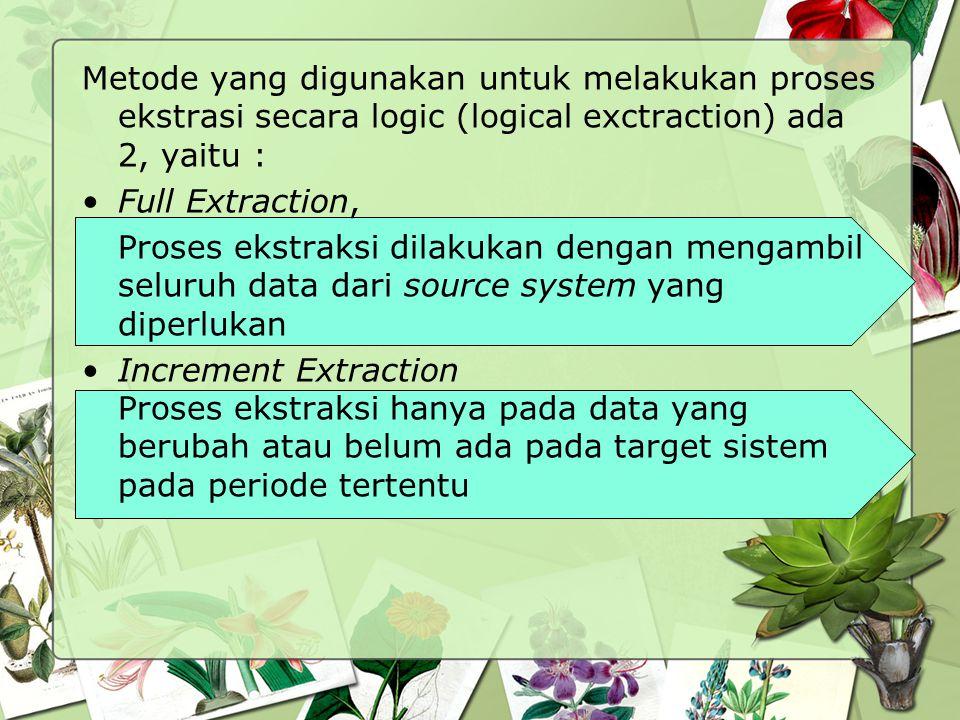 Metode yang digunakan untuk melakukan proses ekstrasi secara logic (logical exctraction) ada 2, yaitu : Full Extraction, Proses ekstraksi dilakukan de