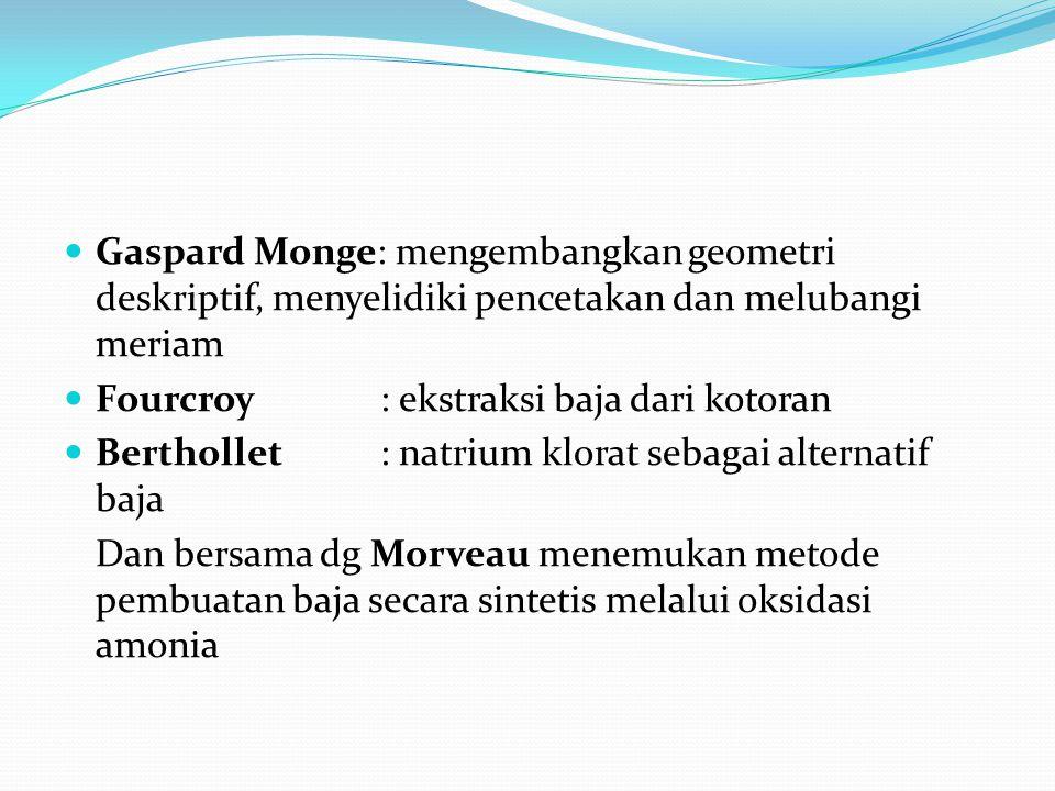 Gaspard Monge: mengembangkan geometri deskriptif, menyelidiki pencetakan dan melubangi meriam Fourcroy: ekstraksi baja dari kotoran Berthollet: natrium klorat sebagai alternatif baja Dan bersama dg Morveau menemukan metode pembuatan baja secara sintetis melalui oksidasi amonia