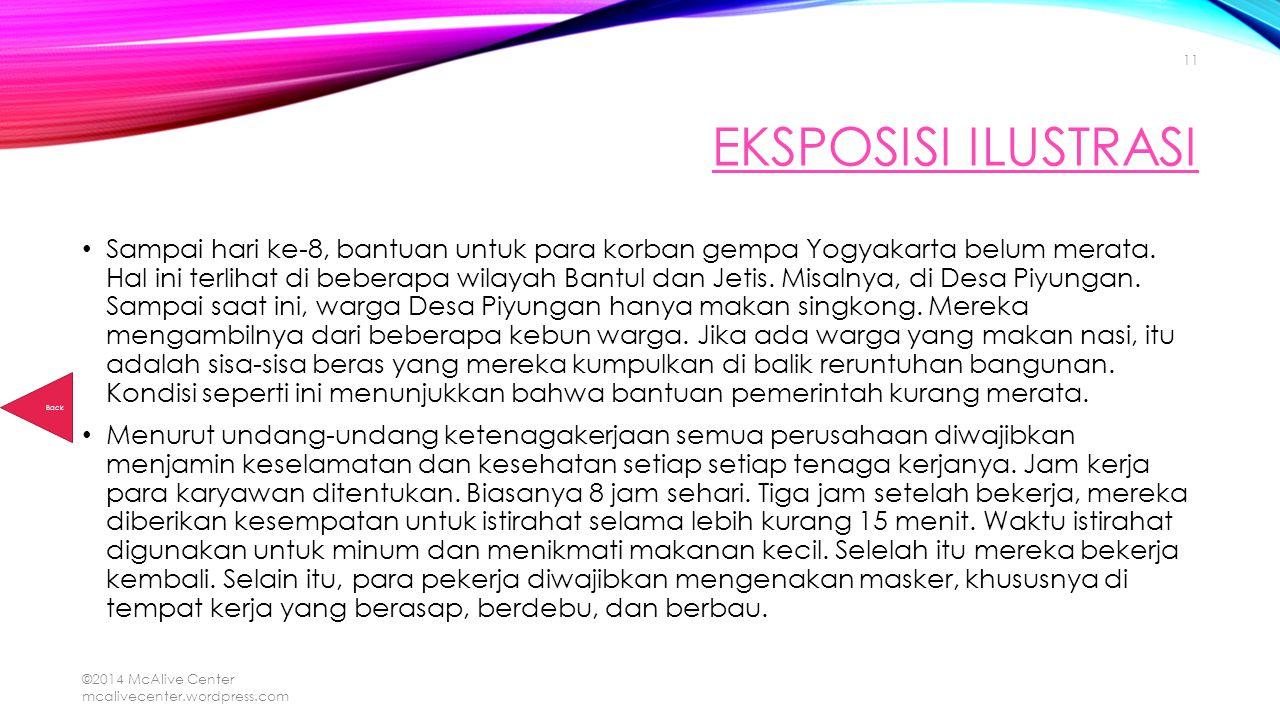 EKSPOSISI ILUSTRASI Sampai hari ke-8, bantuan untuk para korban gempa Yogyakarta belum merata. Hal ini terlihat di beberapa wilayah Bantul dan Jetis.