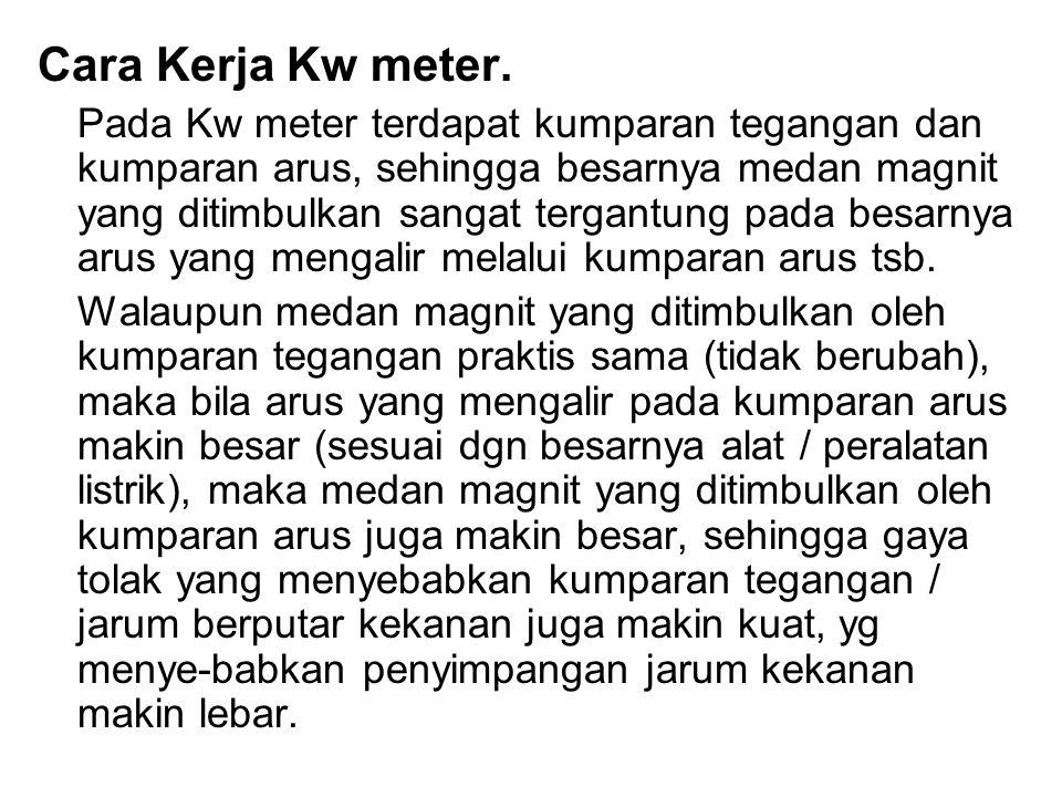 Cara Kerja Kw meter. Pada Kw meter terdapat kumparan tegangan dan kumparan arus, sehingga besarnya medan magnit yang ditimbulkan sangat tergantung pad