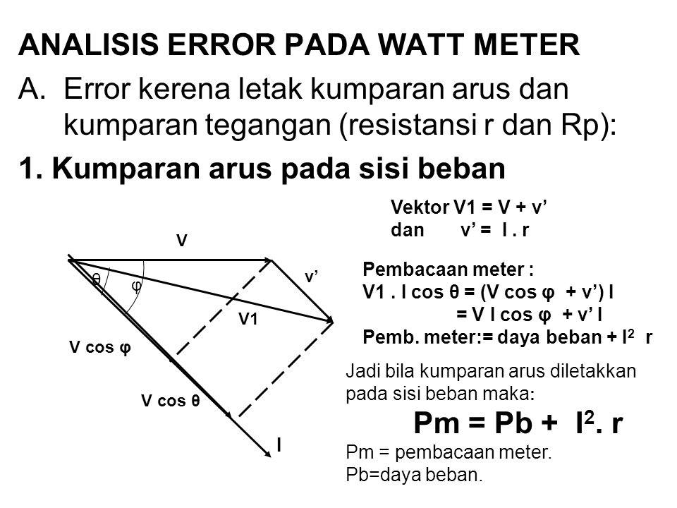 ANALISIS ERROR PADA WATT METER A.Error kerena letak kumparan arus dan kumparan tegangan (resistansi r dan Rp): 1. Kumparan arus pada sisi beban V v' V