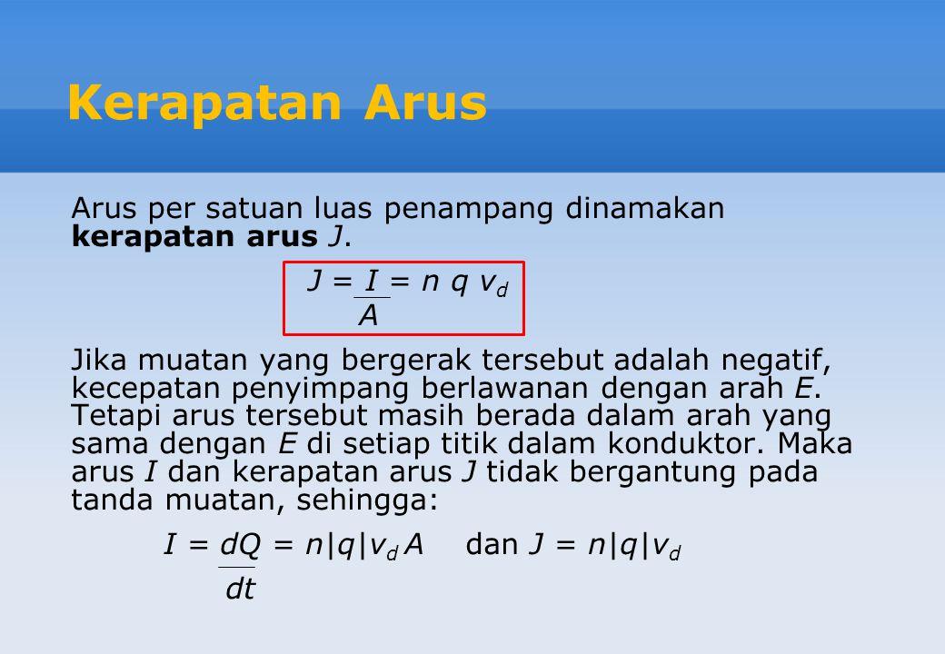 Kerapatan Arus Arus per satuan luas penampang dinamakan kerapatan arus J. J = I = n q v d A Jika muatan yang bergerak tersebut adalah negatif, kecepat