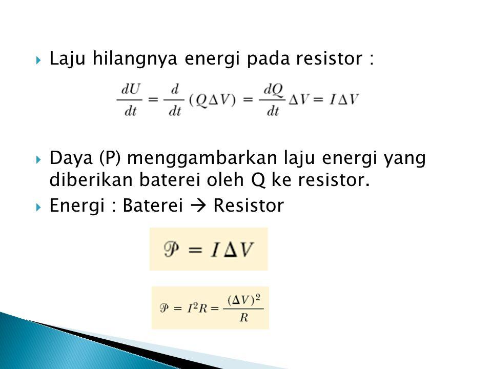  Laju hilangnya energi pada resistor :  Daya (P) menggambarkan laju energi yang diberikan baterei oleh Q ke resistor.  Energi : Baterei  Resistor