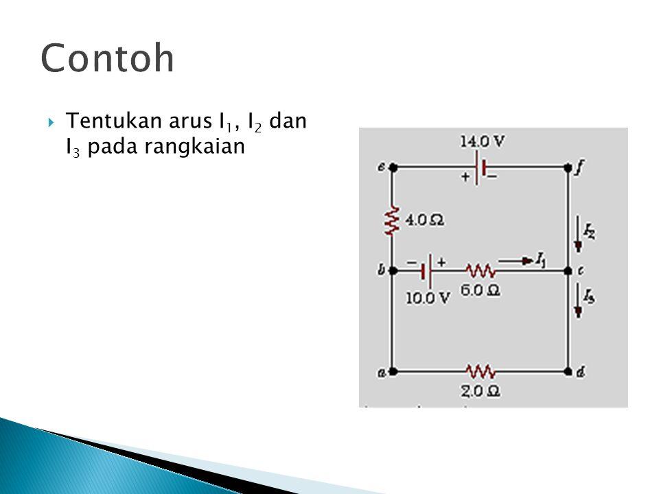 Contoh  Tentukan arus I 1, I 2 dan I 3 pada rangkaian