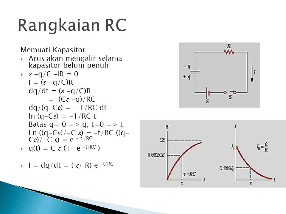 Rangkaian RC Memuati Kapasitor  Arus akan mengalir selama kapasitor belum penuh   -q/C –IR = 0 I = (  -q/C)R dq/dt = (  -q/C)R = (C  -q)/RC dq/(