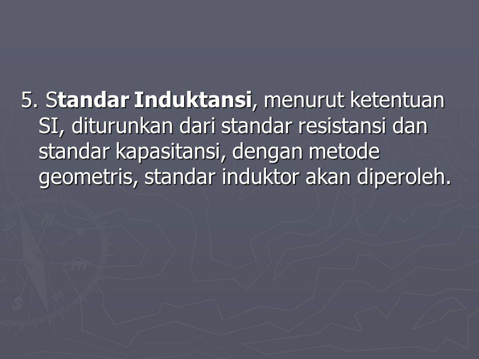 5. Standar Induktansi, menurut ketentuan SI, diturunkan dari standar resistansi dan standar kapasitansi, dengan metode geometris, standar induktor aka