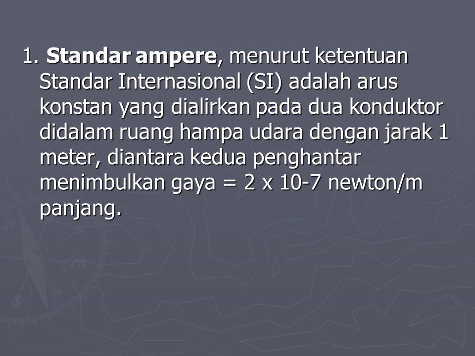 1. Standar ampere, menurut ketentuan Standar Internasional (SI) adalah arus konstan yang dialirkan pada dua konduktor didalam ruang hampa udara dengan