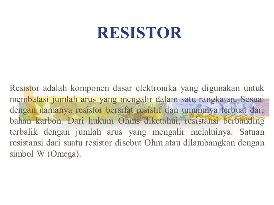 Resistor adalah komponen dasar elektronika yang digunakan untuk membatasi jumlah arus yang mengalir dalam satu rangkaian. Sesuai dengan namanya resist