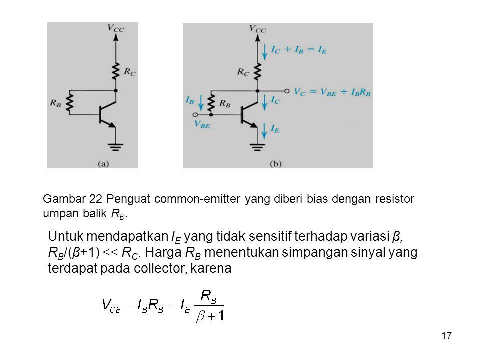 17 Gambar 22 Penguat common-emitter yang diberi bias dengan resistor umpan balik R B. Untuk mendapatkan I E yang tidak sensitif terhadap variasi β, R