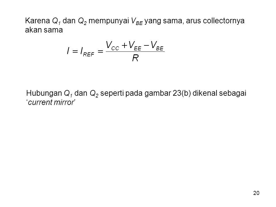 20 Karena Q 1 dan Q 2 mempunyai V BE yang sama, arus collectornya akan sama Hubungan Q 1 dan Q 2 seperti pada gambar 23(b) dikenal sebagai 'current mi