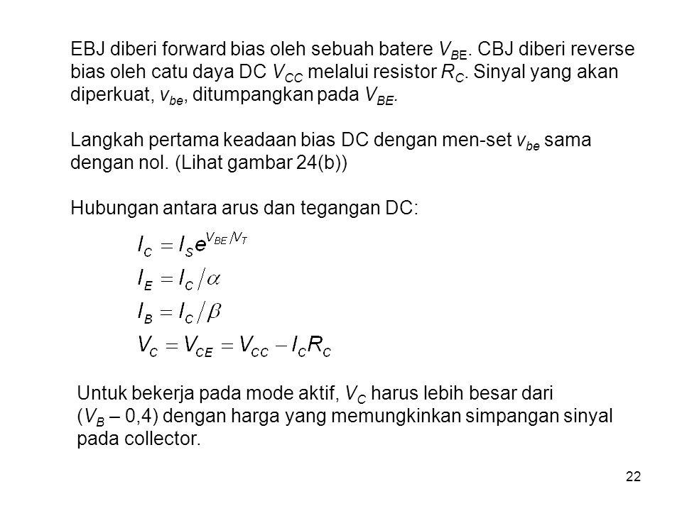 22 EBJ diberi forward bias oleh sebuah batere V BE. CBJ diberi reverse bias oleh catu daya DC V CC melalui resistor R C. Sinyal yang akan diperkuat, v
