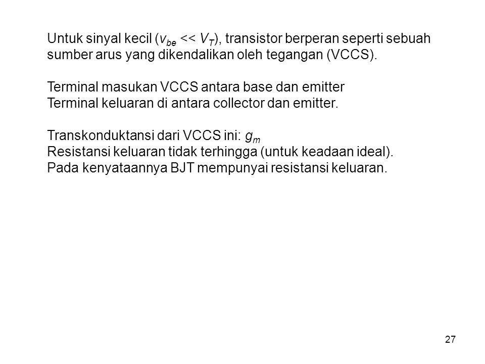 27 Untuk sinyal kecil (v be << V T ), transistor berperan seperti sebuah sumber arus yang dikendalikan oleh tegangan (VCCS). Terminal masukan VCCS ant