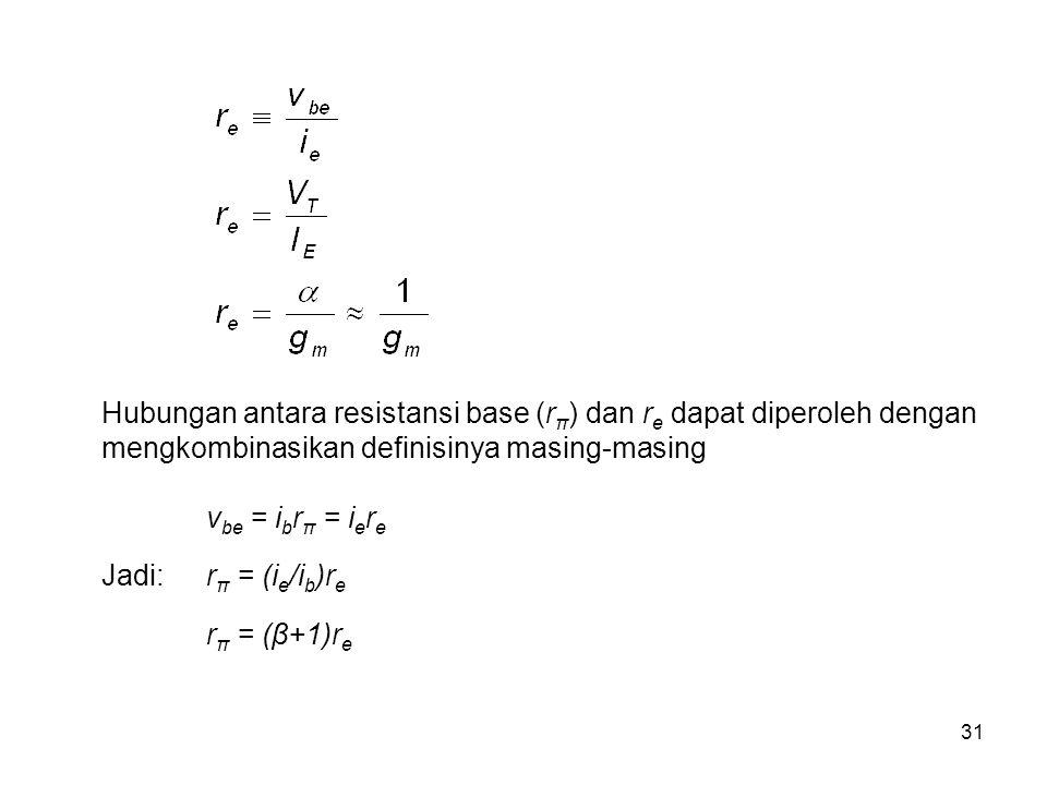 31 Hubungan antara resistansi base (r π ) dan r e dapat diperoleh dengan mengkombinasikan definisinya masing-masing v be = i b r π = i e r e Jadi:r π