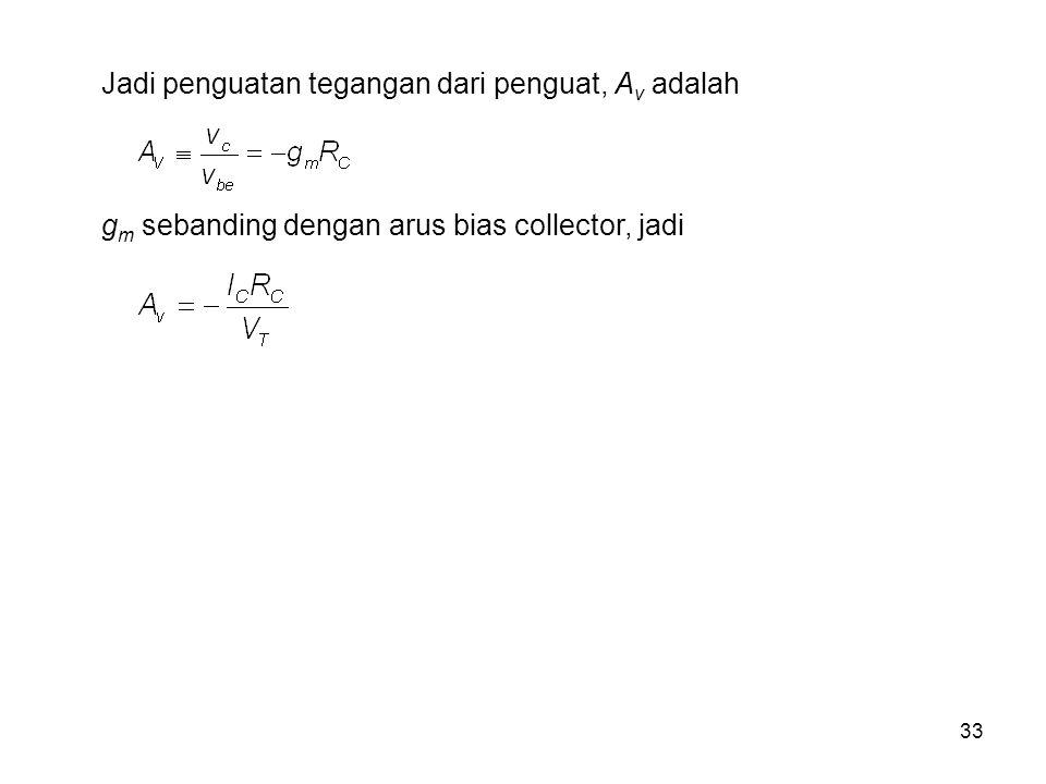 33 Jadi penguatan tegangan dari penguat, A v adalah g m sebanding dengan arus bias collector, jadi