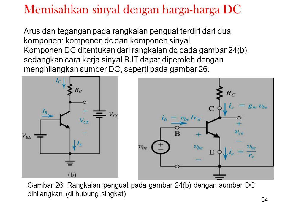 34 Memisahkan sinyal dengan harga-harga DC Arus dan tegangan pada rangkaian penguat terdiri dari dua komponen: komponen dc dan komponen sinyal. Kompon